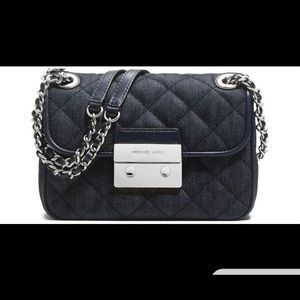 "Michael Kors quilted denim ""Sloan"" purse"